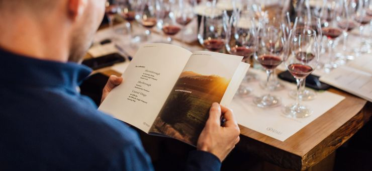 Foley Wines man reading booklet